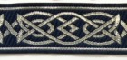 10m Mittelalterborte 25mm breit Farbe: Dunkelblau-Silber
