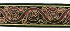10m Brokat Borte Webband 33mm breit Farbe: Bordeaux-LurexGold