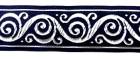 10m Jacquard Borte Webband 33mm breit Farbe: Dunkelblau-Silber