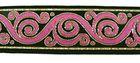 10m Brokat Borte Webband 33mm breit Farbe: Pink-LurexGold