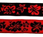 10m Blumen-Borte Webband 20mm breit Farbe: Schwarz-Rot