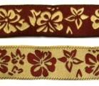10m Blumen-Borte Webband 20mm breit Farbe: Bordeaux-Beige