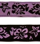 10m Blumen-Borte Hibiskus Webband 20mm breit Farbe: Schwarz-Lila