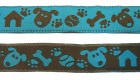 10m Hunde-Borte Webband 16mm breit Farbe: Braun-Blau