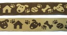 10m Hunde-Borte Webband 16mm breit Farbe: Braun-Beige