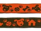 10m Hunde-Borte Webband 16mm breit Farbe: Braun-Terracotta