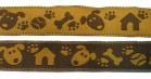 10m Hunde-Borte Webband 16mm breit Farbe: Braun-Ocker