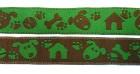 10m Hunde-Borte Webband 16mm breit Farbe: Braun-Grün