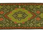 10m Orientalische Borte Webband 50mm breit Farbe:Grün-Orange-Gold