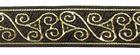 10m Webband Borte Keltischnur / Triskele 22mm breit Farbe: Braun-Gold