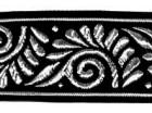 10m Jacquard Borte Webband 33mm breit Farbe: Schwarz-Silber