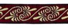 10m Jacquard Borten Webband 16mm breit Farbe: Bordeaux-Gold